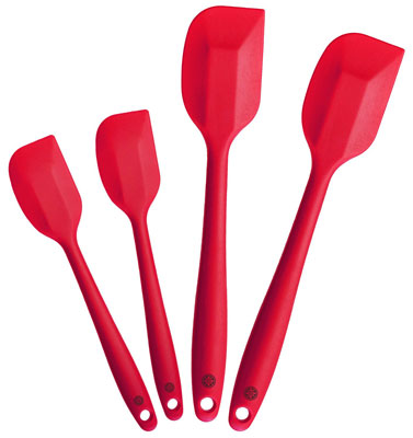 1. StarPack Home Cherry Red Set of 4 Silicone Spatula Set