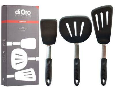 8. di Oro Living 3-Piece Set Silicone Turner Spatulas
