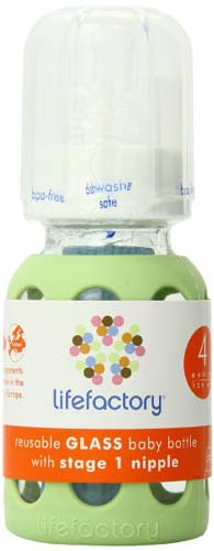6. Lifefactory 4-Ounce Glass Baby Bottle