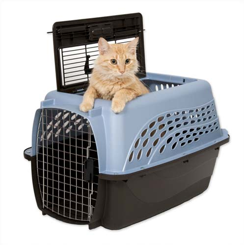 1. Petmate Two Door Top Load Pet Kennel (Metallic Pearl Ash Blue/Coffee Grounds)