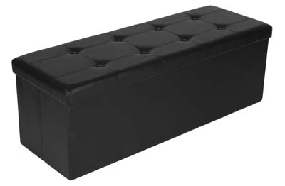 8. Songmics Toy Chest Tunk Black Ottoman