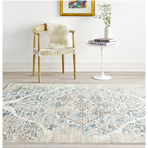 2. Persian-Rugs 4620 Distressed Cream 6'5 by 9'2 Area Rug