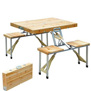 10. Outsunny Portable Folding Picnic Table w/ Built-in Chairs