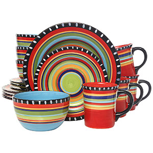 3. Gibson Elite Multicolor Pueblo Springs Dinnerware Set