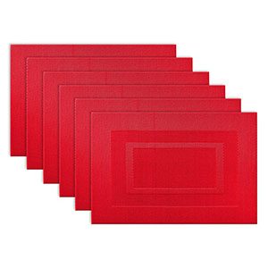 6. DII Woven Vinyl Tango Red Placemats