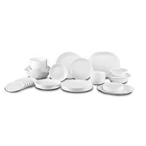 5. Corelle Livingware White 74-Piece Dinner Set