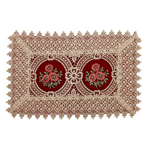 3. Simhomsen Burgundy Lace Table Placemat Set