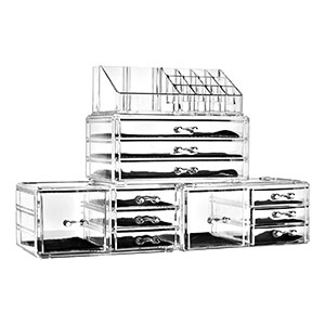 5. Felicite Home Acrylic Cosmetic and Jewelry Makeup Organizer